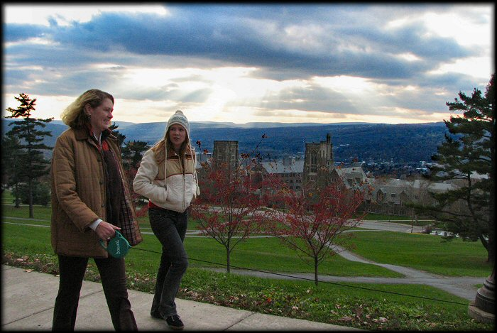 Jessica & Ali walking through the Cornell Campus